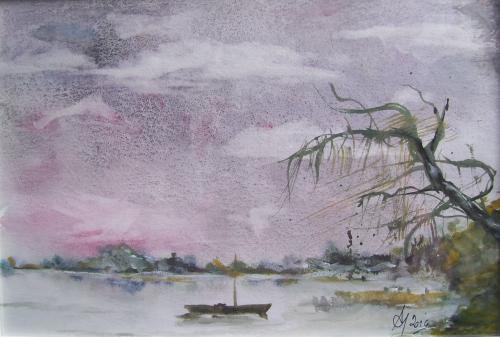 Au lac, avant l'orage, I., aquarelle sur papier