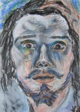 Le désespéré, d'après Courbet, pastels