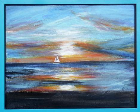 Le cr�puscule sur la mer, II.  acrylique sur papier