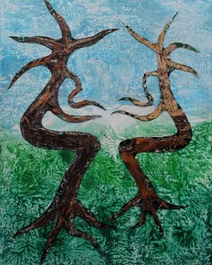 LE BERCEAU DE LA NATURE - Création sur Bois à la cire - Ecorces -40/50 CM  L'arbre n'est pas que le lieu du rendez vous des amoureux, il se fait aussi berceau des amours.  Alain Courbin