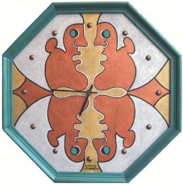 Horloge, bois de particule peint, acrylique, vernis