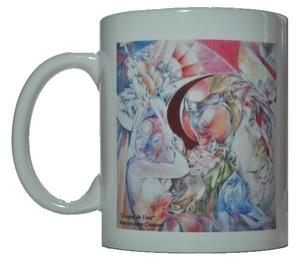 mug en c�ramique de 30 cl d�cor� avec un dessin de l'artiste maryse-anne couteau