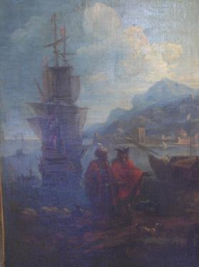 Avant restauration; refixage de la peinture, nettoyage et d�gagement du vernis Peinture du 18�me si�cle