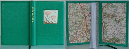 CARNET DE RANDONNEES Reliure buffle vert clair, 15x10cm sur carte 160g Email champlevé : iris Dorure feuille d'or 22 carats