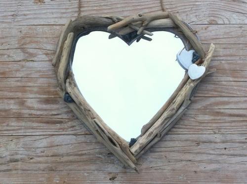 Miroir coeur bois flott�s v�ritables