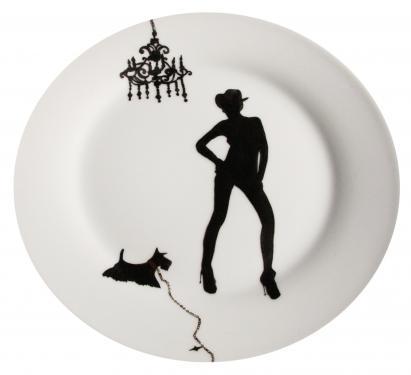 Assiette plat principal motif l'ombre. Référence: Diamètre: Sur commande délais nous consulter.