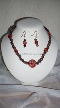 Parure ( 46 cm) fil cablé, perles fimo violet et rose (faites main) Réf: PA25