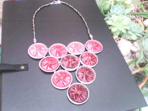 collier nespresso rouge dégradé et réversible mordoré +petites perles rouges et mordorées