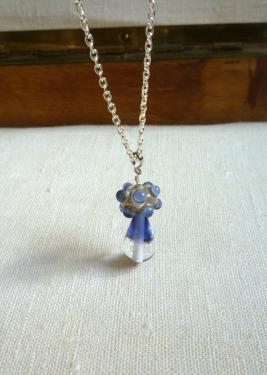 Collier pendentif perles de verre à la flamme