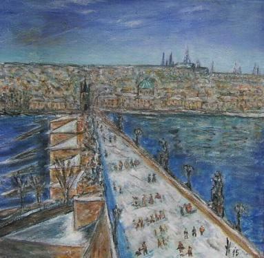 Le pont Charles, Prague, acrylique sur papier