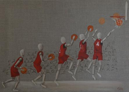 Huile sur toile 50x70 cm: Anatole au basket.