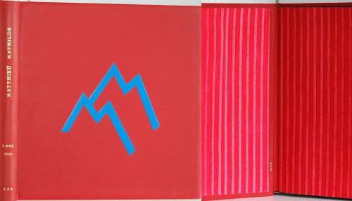 ALBUM PHOTOS DE MARIAGE Reliure 26x25 cm vachette rouge Mosaïque de cuirs Titre à l'or 22 carats Papier de garde Brigitte Chardome