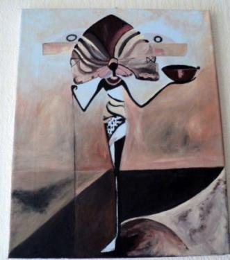 Porteuse d'eau: tableau sur ch�ssis toil� et peinture acrylique