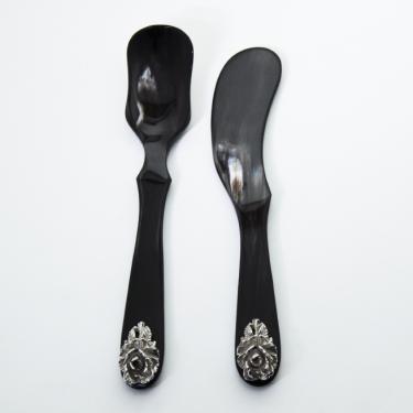 Set de Caviar, corne de buffle noir et argent 925