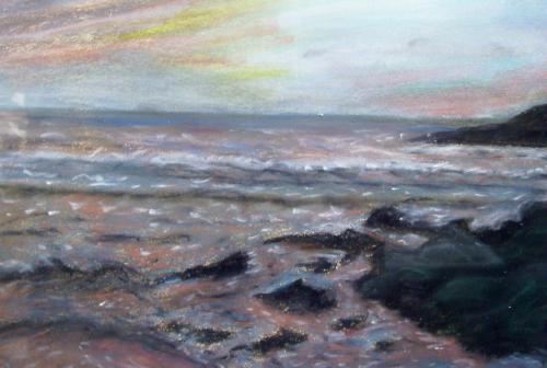 Les roches sur mer, Bretagne, pastels sur papeir