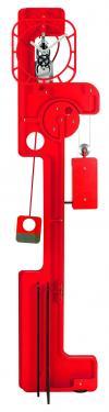 Horloge de Parquet: POP UP Skeleton Rouge vermillon.  Mouvement mécanique (clé, poids, balancier)à remontage manuel, corps en composite (résine, papier kraft) de 10 mm d'épaisseur, hauteur  2,00 m, largeur 0,50 m, réserve de marche 10 jours.   Après les imposantes de bois, les élégantes d?inox et les époustouflantes en verre acrylique, UTINAM Besançon présente les détonantes POP UP. Elles viennent étoffer la grande famille des horloges comtoises, trois fois centenaires, revues et sublimées par Philippe LEBRU, designer et explorateur de temps.  Série de 8 pièces seulement numérotées