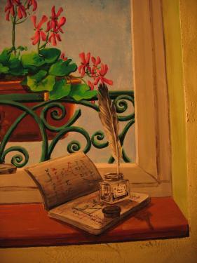 Trompe l'oeil: fenêtre. Détails d'un livre ouvert, fleurs...