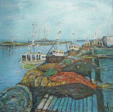 Les filets de pêche,Bretagne, acrylique sur toile