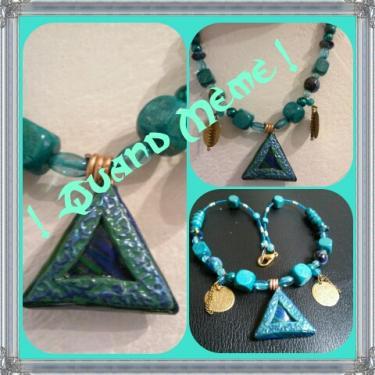 Collier Triangle des Bermudes, polymère, métal, bois, verre, perles renaissance