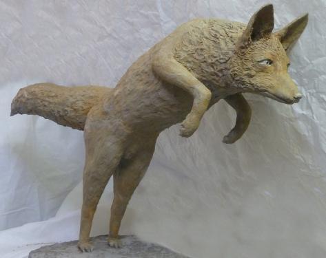 renard mulotte marmotte gr�s patin�  H 59 x  L 30 cm x P 93cm
