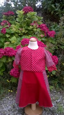robe camaieu de rouge,coton 18 mois et son boléro ref M 282