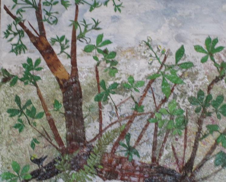 Actualité de NICOLE BOURGAIT THIERRY LE SET DES FLEURS 55. SOUCHE PRINTANIERE - Ecorce de bouleau- Feuilles de Châtaigniers & de noyer - 45/45 cm