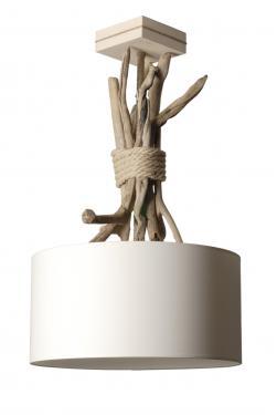 Suspension en élévation Esprit de Lagon, couleur et abat-jour assortis écume, tige en empilement de galets et de bois flotté. L'acquérir c'est faire entrer l'esprit bord de mer