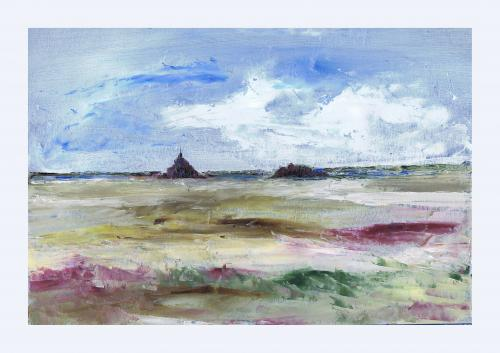 22 x32 huile sur papier Mont St Michel vu des Grêves