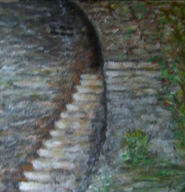 Aux marches du palais..., acrylique sur toile