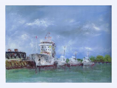 30 x 40 port de Lorient huile sur papier toilé