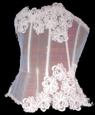 Bustier transparente en tulle avec l'application de fleurs en dentelle. Sur commande,