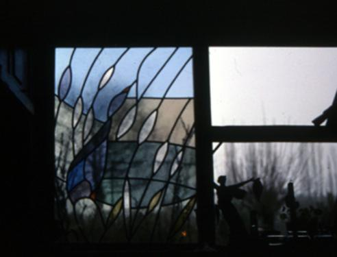 Vitrail de maison à Mouthier en Bresse