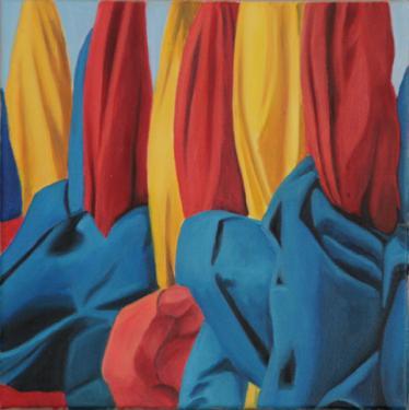 Huile sur toile 30x30 cm: Parasols (2)