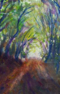 Le chemin dans la for�t, aquarelle
