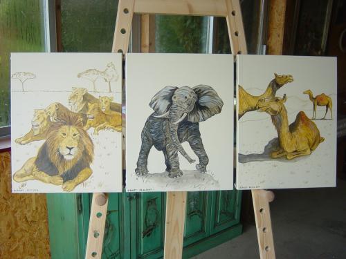triptyque sur toile  peinture acrylique
