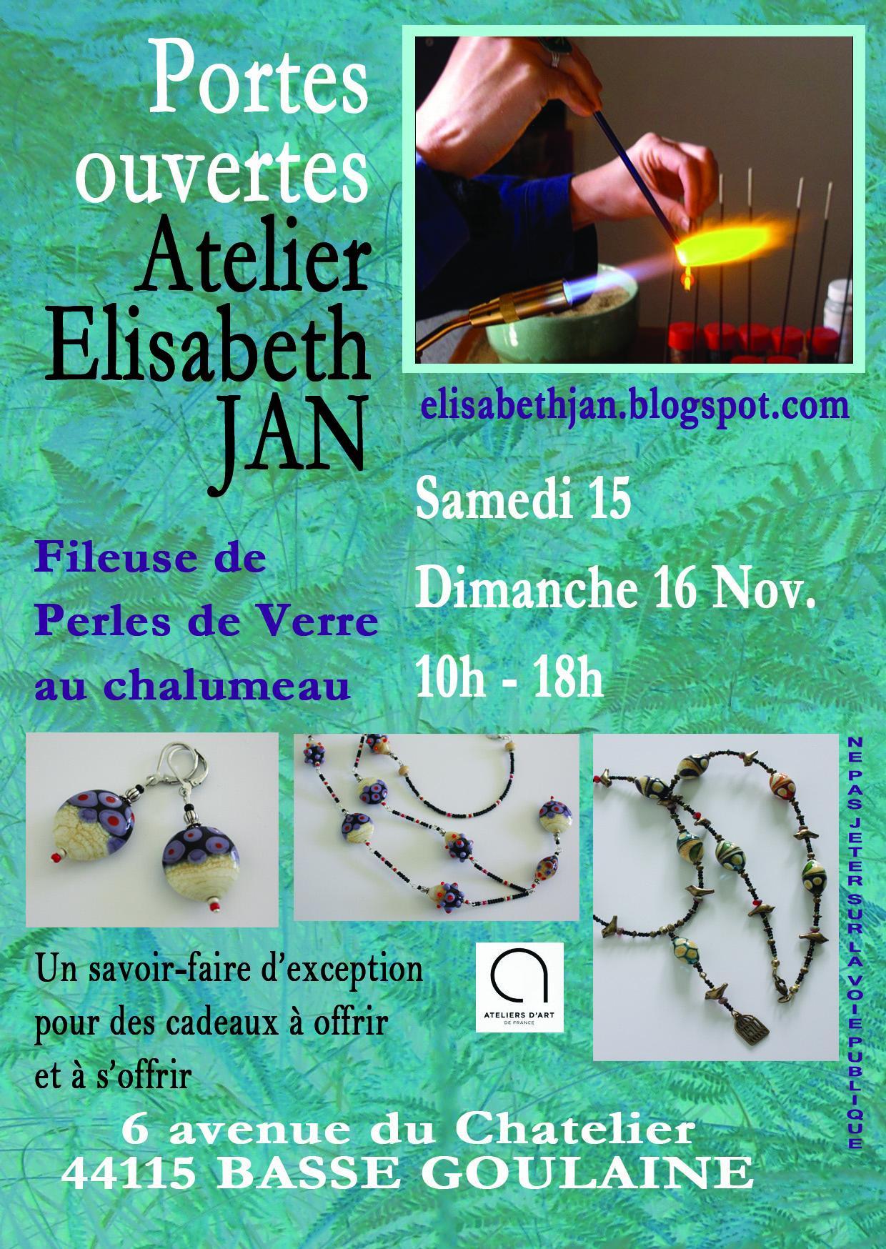 Actualité de Elisabeth JAN Portes Ouvertes de l'Atelier