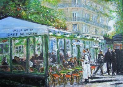 Café de Flore, acrylique sur toile