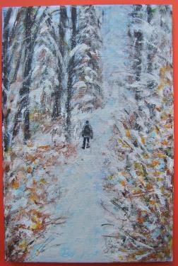L'hiver, Bohême, acrylique sur toile de lin
