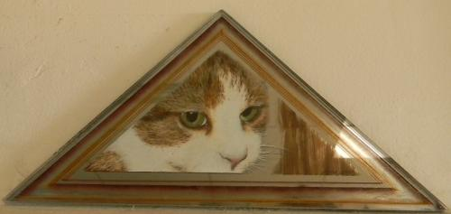 Peinture � l'huile double verres, chat SUR verre, moulure SOUS verre Possibilit�, pose sur mur ou petit chevalet. Taille : 25 cm x 17 cm x 17 cm Certificat d'authenticit� personnalis�. Oeuvre unique. Frais d'envoi offert