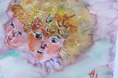 Les ch�rubins, d�tail d'apr�s V�lasquez, aquarelle