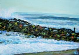 La digue en couleur, Anglet plage, acrylique sur toile