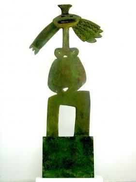 sculpture en bronze patiné bi-face hauteur 1,22m