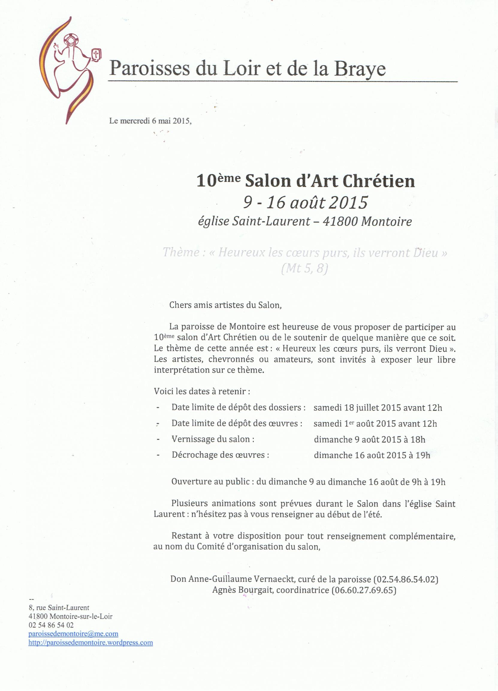 Actualité de  PRESBYTERE DE MONTOIRE SUR LOIR 10 ème - SALON D'ART CHRETIEN DOSSIER INSCRIPTION DU 10° SALON ART CHRETIEN