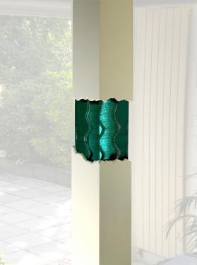 dimensions : pièce en verre : 50/25/25 cm ; colonne 230/28/28 cm  fournie avec colonne (support en béton cellulaire entouré d