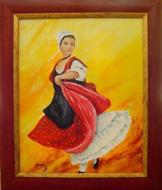 La danseuse Provençale  Peinture huile sur toile  Cadre bois avec dorure  Format total 50 x 42  Certificat d'authenticité  Prix 199.00 ?  Frais d'envoi 9.00 ?   Chez vous en 72 heures ou a retirer à notre atelier