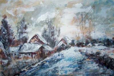 Le hameau enneigé, acrylique sur papier