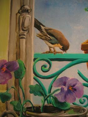 Trompe l'oeil: fenêtre. Détail - oiseau, fleurs