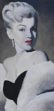 Huile sur toile 100x50 cm: Marilyn jeune (2).