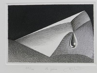 LA PEINE  Par un matin gris, A cause d'une femme, Un jour du ciel, J'ai vu tomber une larme; D'un marbre des pleurs, De mon coeur, S'éteindre une flamme.  Gravure au burin sur cuivre 15.5 X 22.5 cm sur papier velin 250 g/M² 32x50 cm   Gabriel Richard Sculpteur Plasticien 41360 CELLE. 02.54.23.71.68