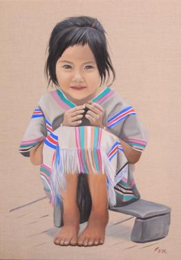 Huile sur toile en lin  70x50 cm: Yindee.